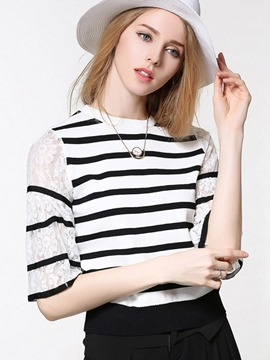 Ericdress Lace Stripe Half Sleeve Knitwear