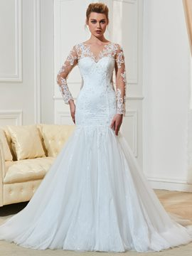 Ericdress Long Sleeves Mermaid Scoop Appliques Wedding Dress