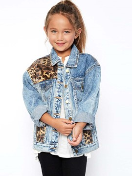 Ericdress Leopard Button Short Girls Jacket