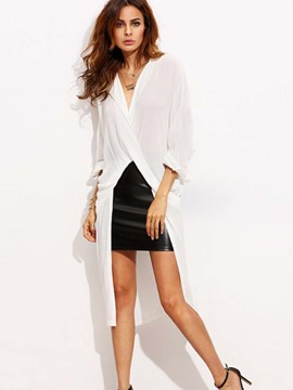 Ericdress White Long Oversized Blouse