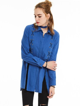 Ericdress Tie Cross Split Blue Blouse