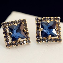 Ericdress Rhinestone Inlaid Square Artificial Gem Earrings