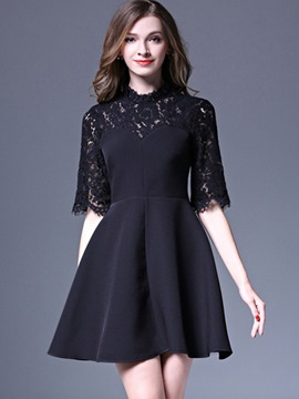 Ericdress Pleated Patchwork See-Through Lace Dress