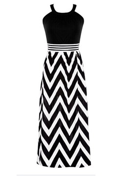 Ericdress Houndstooth Strip Spaghetti Strap Maxi Dress