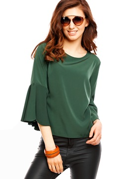 Ericdress Loose Solid Color Trumpet Blouse
