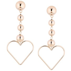 Ericdress Golden Heart-Shaped Alloy Long Beading Earrings