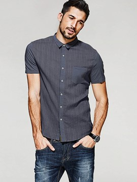 Ericdress Single-Breasted Short Sleeve Slim Men's Shirt