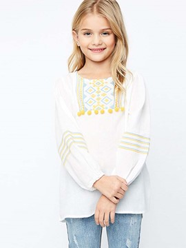 Ericdress Bohemian Embroidery Lantern Sleeve Girls Shirt