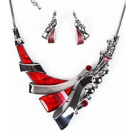 Ericdress Red Resin Pattern Diamante Short Two-Pieces Jewelry Set