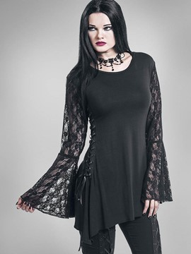 Ericdress Solid Color Lace Patchwork Trumpet T-Shirt