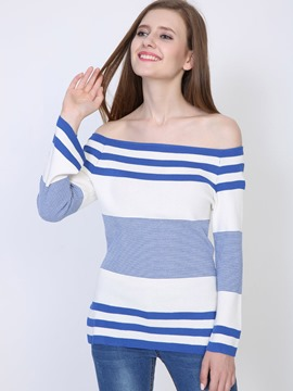 Ericdress Navy Stripe Slash Neck Knitwear