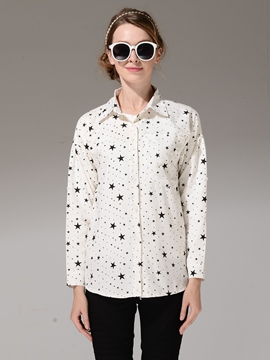 Ericdress Star Print Single-Breasted Blouse