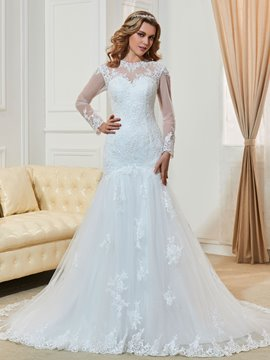 Ericdress Long Sleeves Mermaid Jewel Neckline Wedding Dress With Appliques