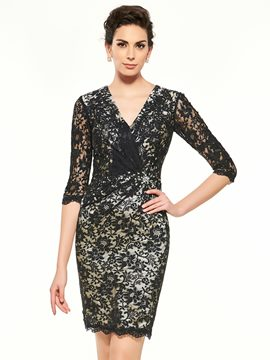 Ericdress High Quality V Neck Half Sleeves Lace Short Mother Of The Bride Dress