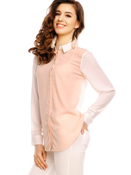 Ericdress Lapel Color Block Chiffon Blouse
