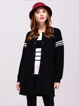 Ericdress Casual Loose Single-Breasted Plus Size Coat