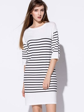 Ericdress Vertical Striped Half Sleeve Casual Dress