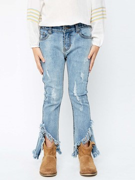 Ericdress Fringed Bellbottoms Skinny Denim Girls Pants