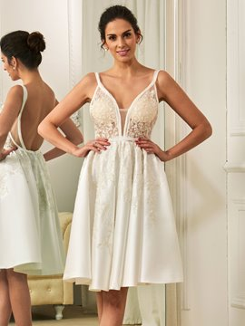 Ericdress Spaghetti Straps A Line Knee Length Reception Wedding Dress