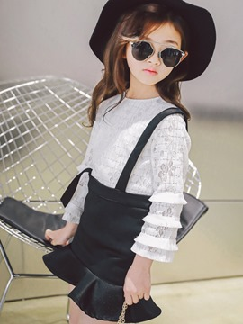 Ericdress Ruffles Lace Shirt Suspenders Skirt 2-Pcs Girls Suit
