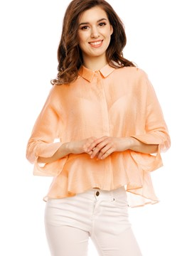 Ericdress Solid Color Loose Trumpet Frill Blouse