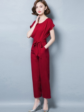 Ericdress Round Neck Red Lace-Up Women's Jumpsuits