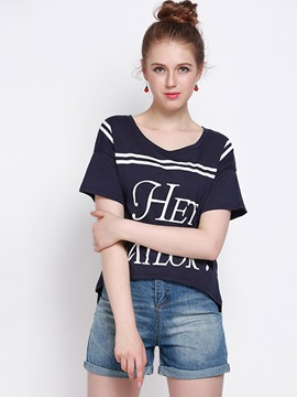 Ericdress Loose Letter Print T-Shirt