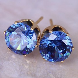 Ericdress Colorful Round Zircon Simple Stud Earrings