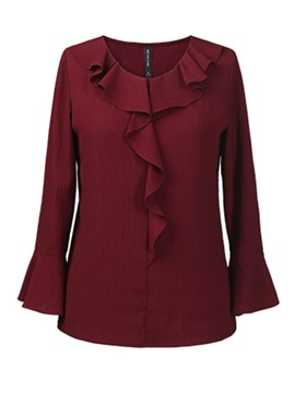 Ericdress Burgundy Falbala Plus Size Blouse