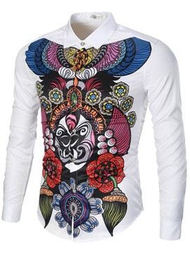 Ericdress Casual Vintage Print Long Sleeve Men's Shirt