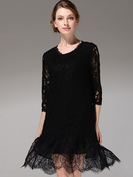 Ericdress Hollow Round Collar Falbala Patchwork Lace Dress