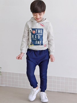 Ericdress Letter Hoodie Pants 2-Pcs Boys Sports Suit