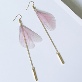 Ericdress Sweet Pink Butterfly Wings Tassels Earrings