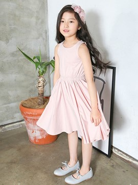 Ericdress Plain Suspenders Pleated Knee-Length Dress