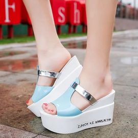 Ericdress Sweet Patchwork Peep Toe Mules Shoes
