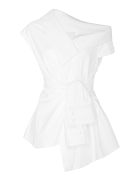 Ericdress Oblique Neckline Tie White Blouse