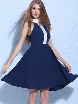Ericdress Color Block Sleeveless Stand Collar A Line Dress