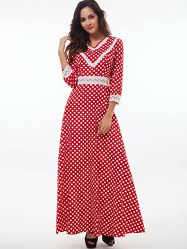 Ericdress Polka Dots Lace Expansion Maxi Dress