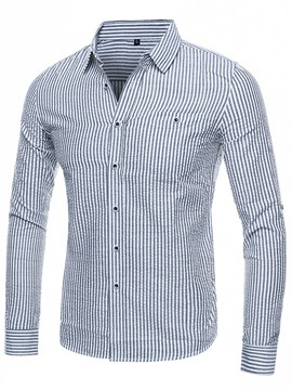 Ericdress Plain Cotton Blends Casual Stripe Men's Shirt