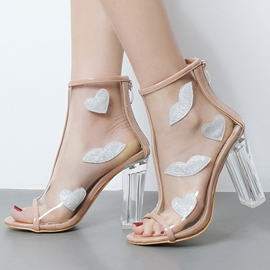 Ericdress Transparent Crystal Chunky Sandals