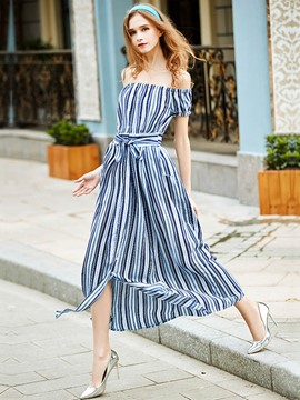 Ericdress Vertical Striped Puff Sleeve Slash Neck Maxi Dress