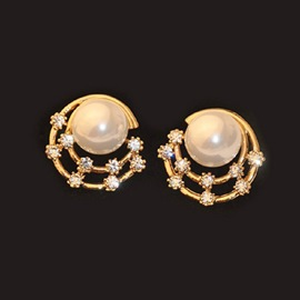 Ericdress Bath Star Pearl Round Earrings(Price For A Pair)
