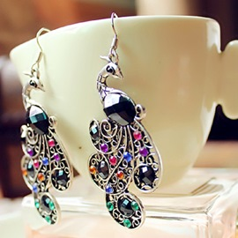 Ericdress Flirtatious Hollow Peacock Gem Earrings(Price For A Pair)