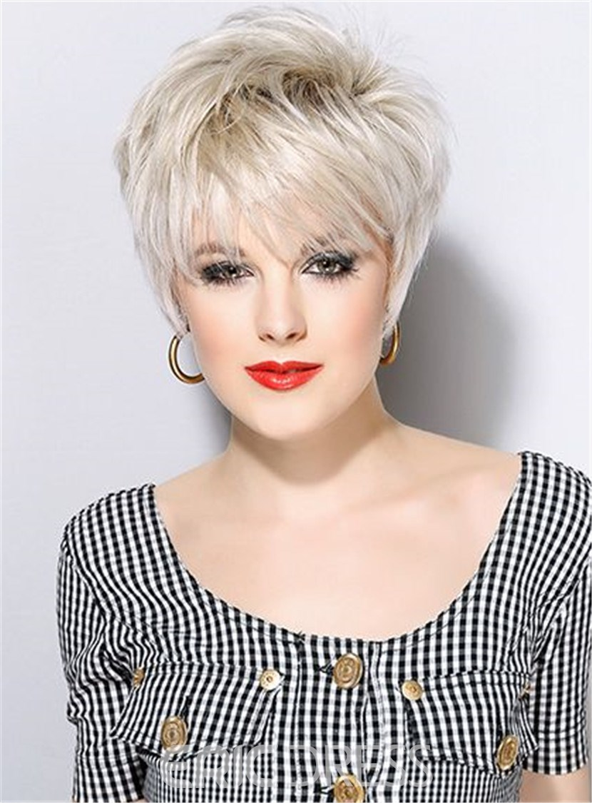 Ericdress Short Haircuts Full Bangs Straight Synthetic Hair Capless wig 8 Inches 12791550