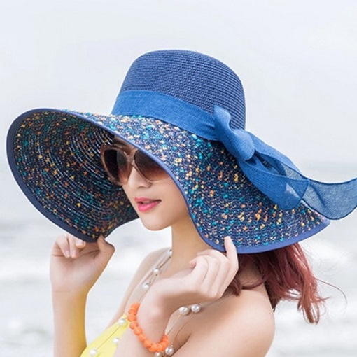 Ericdress Bowknot Embellished Graceful Wide Brim Sun Hat