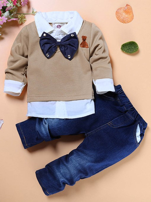 Ericdress Bowknot Double-Layer Shirt Denim Pants Boys Outfit