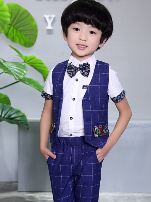 Ericdress Plaid Vest & Pants 2-Pcs Boys Suit
