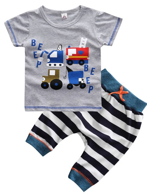 Ericdress Cartoon Stripe Summer 2-Pcs Boys Outfit