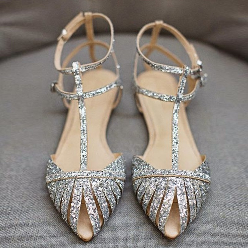 Ericdress_Sequin_Pointed_Toe_Flat_Sandals