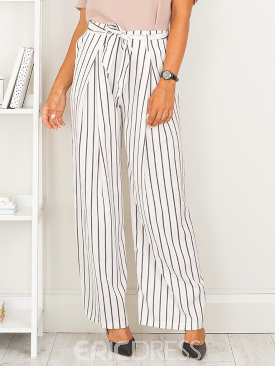 Ericdress High Waisted Lace-up Striped Wide Leg Womens Pants